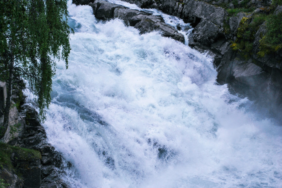 Close up of rushing river water in Loom Norway