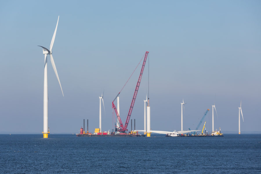 Construction site of offshore wind farm near the Dutch coast